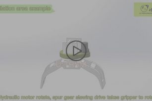 Spur gear slew drive used in wood grabbing machinery 3D video show