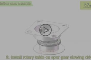 Internal gear same direction spur gear slew drive application 3D video show