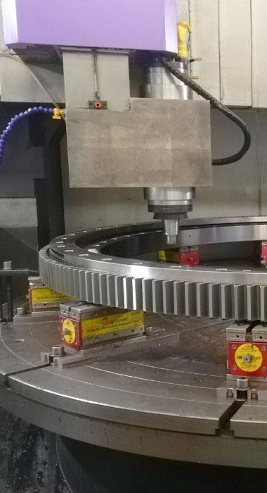 Slewing bearing drilling